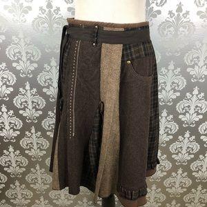 Anthropologie Hazel Brown Multi Pattern Skirt L